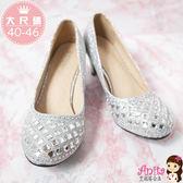 艾妮塔公主。中大尺碼女鞋。華麗時尚方鑽中跟鞋 共2色。40~46碼( D621)