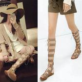 涼靴 新款長筒交叉綁帶羅馬風真皮平底涼鞋女高筒靴涼靴