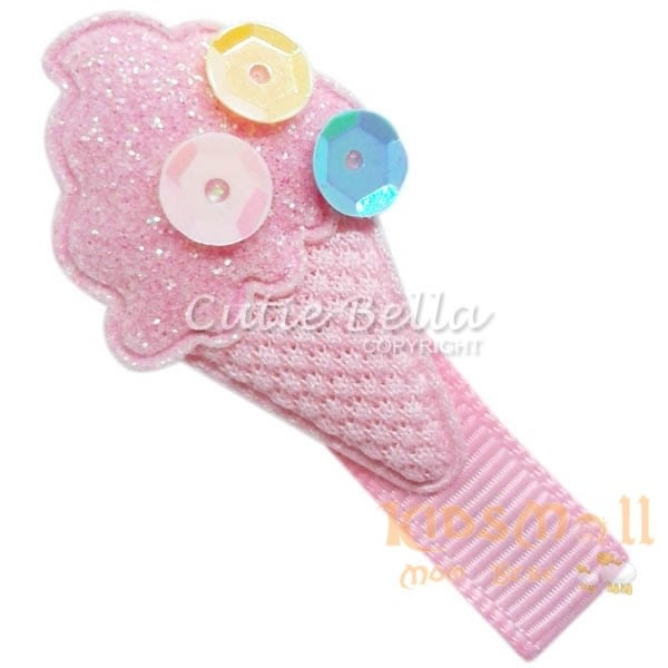 Cutie Bella冰淇淋甜筒全包布手工髮夾-Ice Cream-Pinky