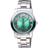VOGUE 曼波系列鏤空藝術腕錶-綠x銀/38mm 9V1601-141S-G