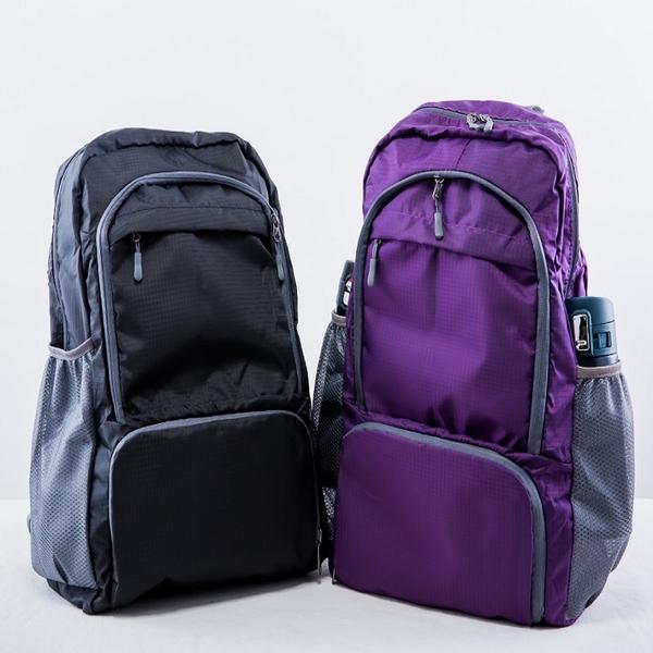 古今人文 方格摺疊後背包(紫色/黑色) 顏色可選