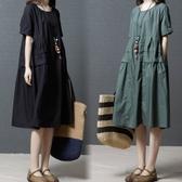 初心 純色棉麻洋裝 【D8102】 素雅簡約 柔軟 輕薄 棉麻 短袖 加大尺碼 連身裙 寬鬆