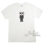 茱麗葉精品【全新現貨】KARL LAGERFELD 卡爾 老佛爺人物印花造型棉質短T恤.白
