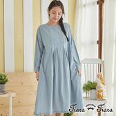 【Tiara Tiara】百貨同步 傘下擺簡約純棉長洋裝(藍/駝) 預購