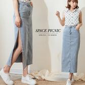 長裙 Space Picnic|側開高岔不收邊單寧牛仔長裙(現貨)【C19061044】