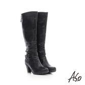 A.S.O 保暖靴  真皮抓皺飾釦後拉鍊高跟長靴  黑