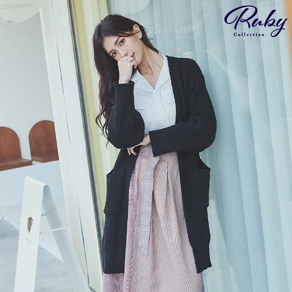 外套 RCha。雙口袋開襟長版針織外套-Ruby s 露比午茶