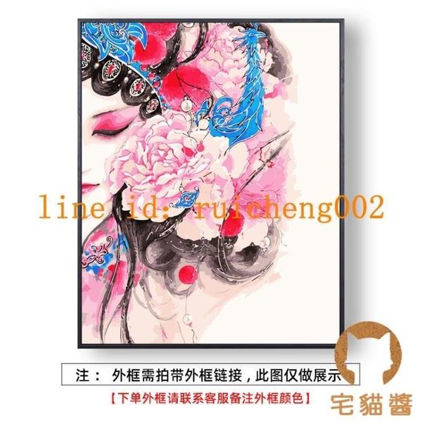 diy數字油畫手工填色減壓簡約裝飾畫卡通人物花卉油彩畫【宅貓醬】