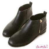 amai極簡側拉鏈設計低跟踝靴 黑