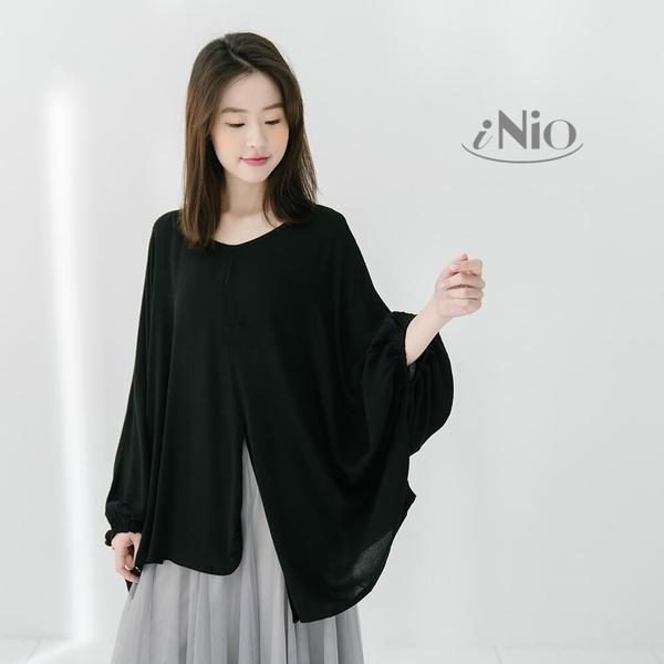 蝙蝠束口袖圓領飛鼠造型上衣長袖短袖上衣(S-L適穿)- 現貨快出【T9W1034】 iNio 衣著美學