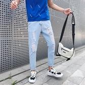 夏季九分牛仔褲男士韓版寬鬆ins破洞褲潮流個性乞丐褲9分褲子薄款