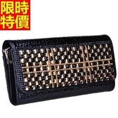 鏈條晚宴包-可側背時尚大方珍珠魚紋真皮女手拿包2色66p11【巴黎精品】