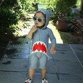 店長推薦 韓國兒童連身泳衣男童防曬小童長袖鯊魚寶寶中大童溫泉服游泳衣
