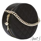 Ann'S小香風-頂級牛皮星球綴飾菱格立體小圓包-黑