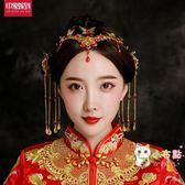 快速出貨-中式新娘頭飾新款金色花朵流蘇步搖古典秀禾服鳳冠結婚配飾飾品