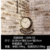 小鄧子美式複古創意大掛鐘牆上裝飾品鐘客廳臥室餐廳個性鐘錶壁掛工藝品(主圖款L046-E6)