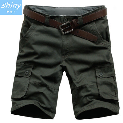【Y062】shiny藍格子-美式休閒.夏季新款寬鬆多口袋休閒五分褲