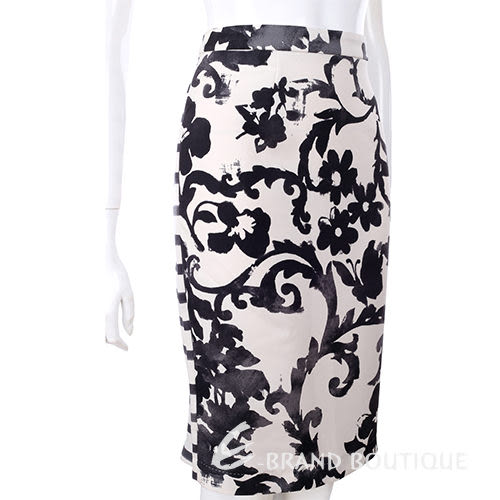 MOSCHINO 黑/白色花墨紋拼接條紋及膝裙 1310657-20