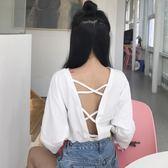新款女後背鏤空露背交叉T恤百搭7分袖上衣【販衣小築】