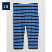 Gap女嬰兒條紋鬆緊腰彈力內搭褲497566-摩爾藍色