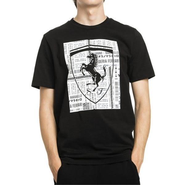 Puma Ferrari 男 黑 短袖 上衣 法拉利 棉T 短T 運動 休閒 F1賽車 圓領上衣 57785401