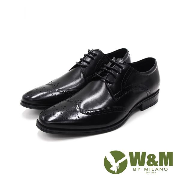 W&M(男)氣墊感 雕花綁帶皮鞋 男鞋-黑(另有棕)