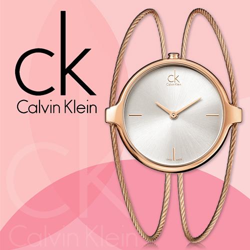 CK手錶專賣店 K2Z2S616 女錶 玫瑰金 石英 扣式安全錶扣 礦物抗磨玻璃 鍍金鋼索手環式錶帶