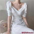 雪紡洋裝 夏季韓國法式顯瘦v領收腰泡泡袖雪紡洋裝長裙女神范-Ballet朵朵