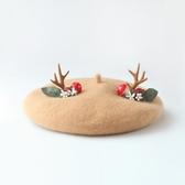 店長推薦 圣誕小鹿貝雷帽女生日系羊毛帽子手工森林麋鹿小鹿角禮物