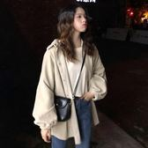 秋季2018新款韓版中長款復古港風工裝BF風學生寬鬆長袖開衫外套女 挪威森林