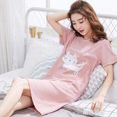 韓版睡裙女夏純棉短袖甜美清新睡衣女夏天可愛卡通學生寬鬆家居服『潮流世家』