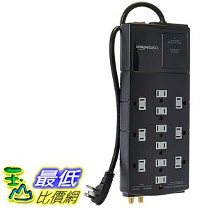 [106美國直購]  AmazonBasics 防護插座 12 Outlet Surge Protector with 10 Feet Cord, 4350 Joules