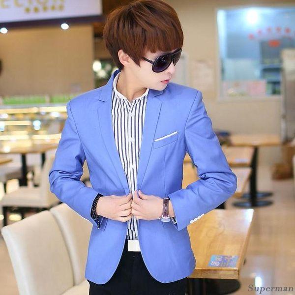 小西服外套 - 正韓新款修身小西裝外套男裝衣服禮服【情人節禮物限時八折】