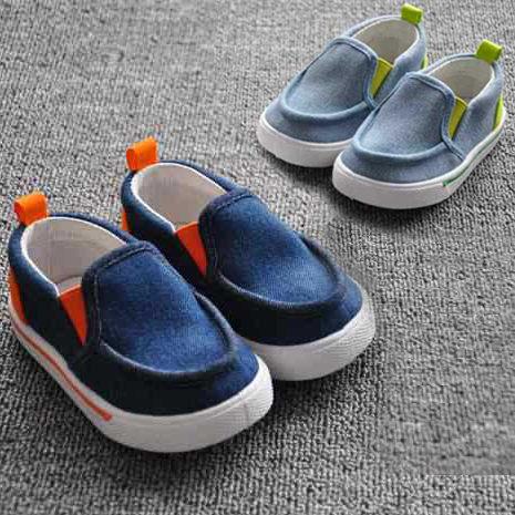 滾邊膠底牛仔色輕便帆布鞋 懶人鞋 兒童 小童 幼稚園好穿脫室內鞋 橘魔法Baby magic 鞋內13CM~17CM