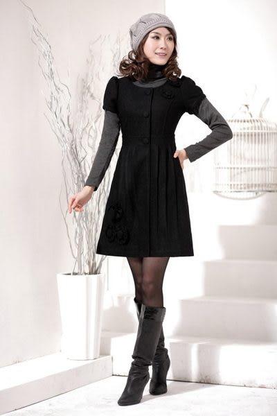 春秋裝新款女裝時尚熱賣圓領收腰修身氣質毛呢連衣裙