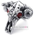 《 QBOX 》FASHION 飾品【R10023533】精緻龐克風牛頭角骷顱頭鑄造鈦鋼戒指/戒環(收藏推薦)