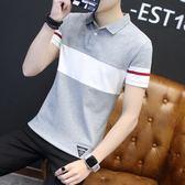 POLO衫夏季新款男士t恤短袖polo衫正韓潮流上衣半軸體桖男帶領子打底衫3-5XL