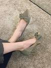 高跟鞋女2021年新款春季時尚百搭網紅尖頭淺口蝴蝶結細跟單鞋春秋