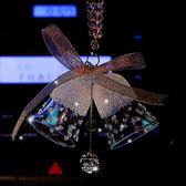 新款水晶車掛高檔水晶雙鈴鐺風鈴汽車掛件車內女鑲鉆掛飾裝飾品『新佰數位屋』