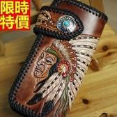 長夾-編織精美印地安酋長雕刻美式復古真皮手工男皮夾66t3【巴黎精品】