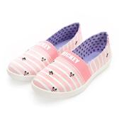 Disney 清新愛戀 雙色線條布面懶人鞋-粉