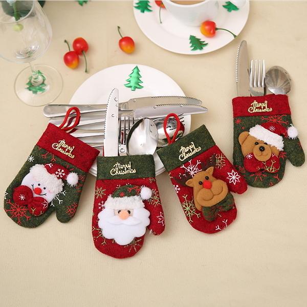 新款聖誕節裝飾用品餐廳桌面裝飾品餐具套刀叉套禮品袋聖誕手套款─預購CH2474