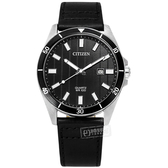 CITIZEN 星辰表 / BI5050-03E / 簡約商務 日期視窗 日本機芯 防水100米 真皮手錶 黑色 42mm
