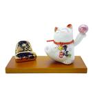 【金石工坊】筆筆成交名片座(高7.5CM)陶瓷招財貓+金山造型 桌上開運擺飾 財運滾滾來