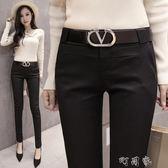休閒職業西褲女OL夏黑色顯瘦九分窄管窄管褲修身鉛筆長褲 町目家
