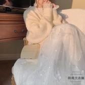 網紗半身裙配毛衣秋冬女紗裙子中長款【時尚大衣櫥】