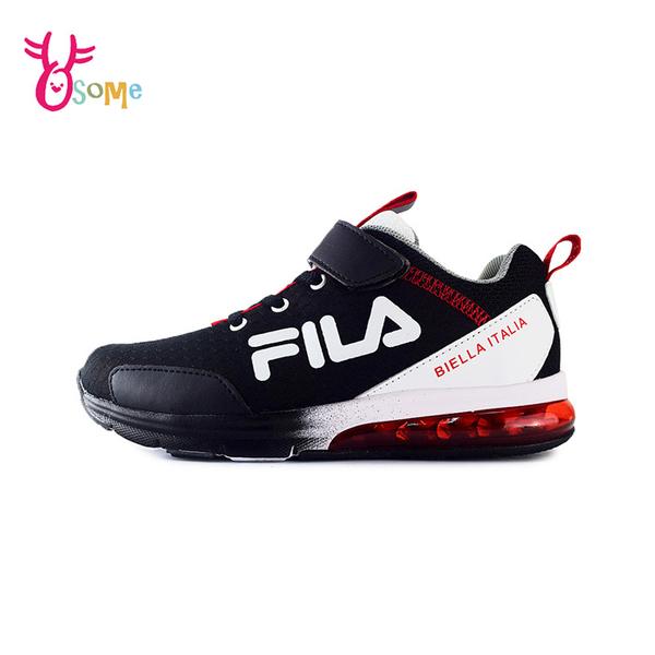 FILA童鞋 男童運動鞋 氣墊鞋 足弓鞋墊 矯正鞋 慢跑鞋 運動鞋 跑步鞋 魔鬼氈 康特杯 R7667#黑白