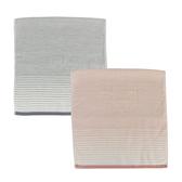 (組)和風無撚紗布漸層浴巾60x137(粉)x1+(灰)x1