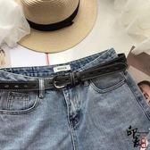 韓國流行皮帶chic一整條孔免打孔的PU皮耐用腰帶女復古簡約潮【萬聖節推薦】