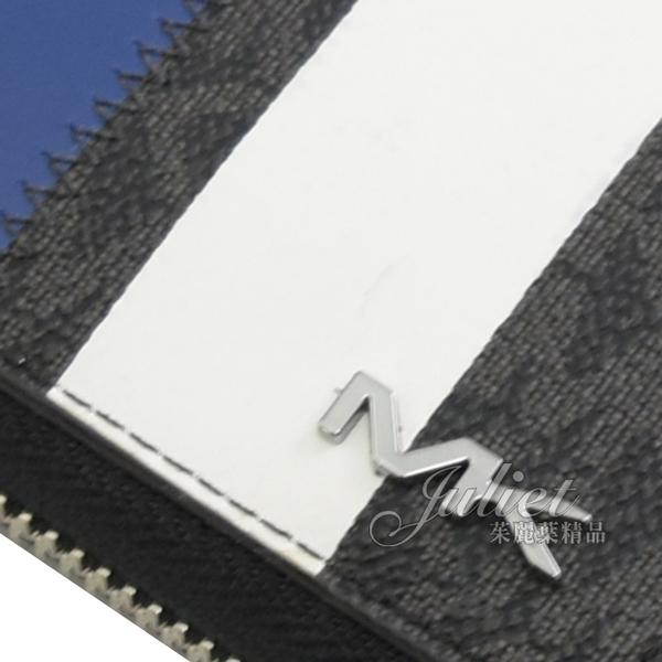 茱麗葉精品【全新現貨】MICHAEL KORS COOPER 藍白條紋字母LOGO拉鍊長夾.黑
